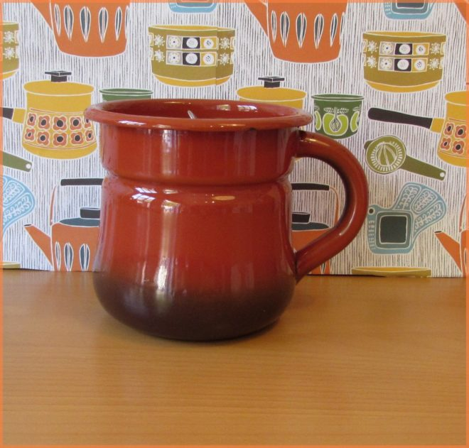 Orange Enamel Milk Jug