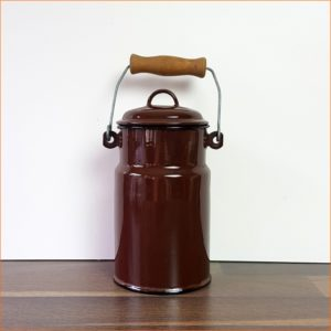 Brown enamel milk can
