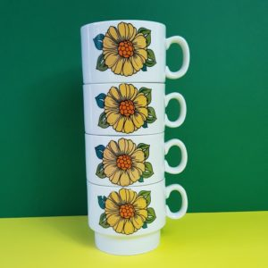 Italian mugs with sunflowers
