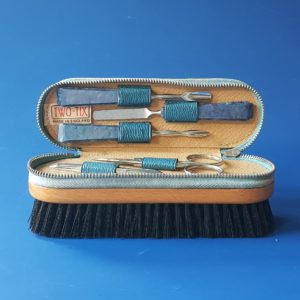 Blue manicure brush set